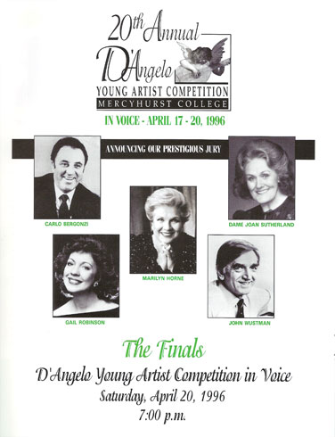 Program Page from D'Angelo Competition. Pictured are Carlo Bergonzi, Marilyn Horne, Dame Joan Sutherland, Gail Robinson and John Wustman